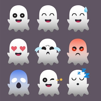 Ensemble d'autocollant ghost emoticon isolé