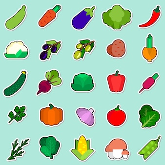Ensemble d'autocollant de légumes sur la collection d'icônes colorées fond bleu