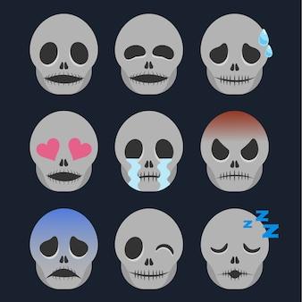 Ensemble d'autocollant squelette émoticône isolé