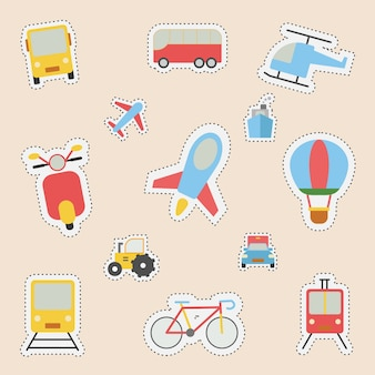 Ensemble d'autocollant avec transport