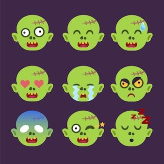 Ensemble d'autocollant zombie emoticon isolé
