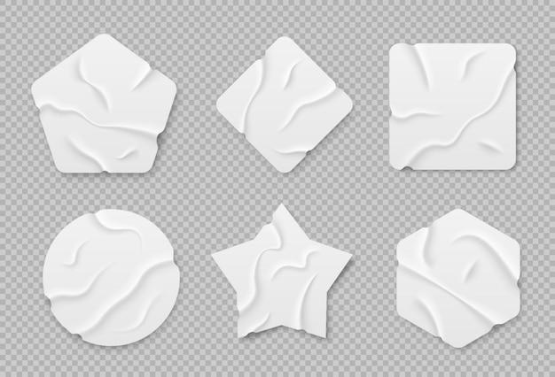 Ensemble d'autocollants adhésifs blancs ensemble de morceaux de ruban adhésif isolés sur fond transparent