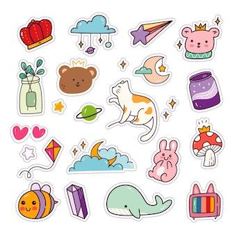 Ensemble d'autocollants animaux kawaii collection de patchs de mode