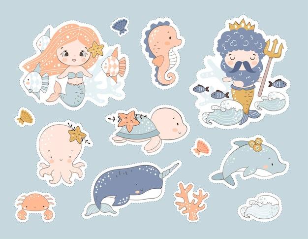 Ensemble d'autocollants animaux marins. illustration dessinée à la main
