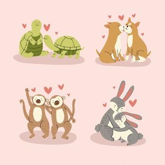 Ensemble d'autocollants d'animaux mignons amoureux