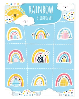 Ensemble d'autocollants arc-en-ciel de bébé. le soleil, les nuages, 9 stickers en forme d'arcs-en-ciel. éléments de conception de bébé mignon pour l'impression sur papier, décoration de fêtes d'enfants. illustration vectorielle. dessiner à la main