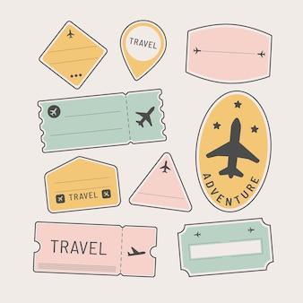 Ensemble d'autocollants et de badges de voyage