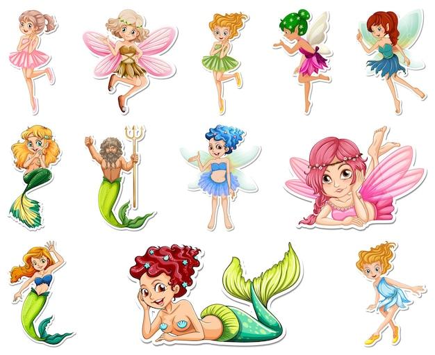 Ensemble d'autocollants avec de belles fées et un personnage de dessin animé de sirène