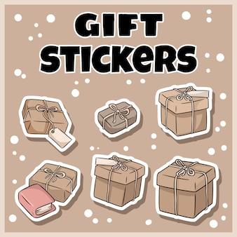 Ensemble d'autocollants de boîtes à cadeaux dessinés à la main