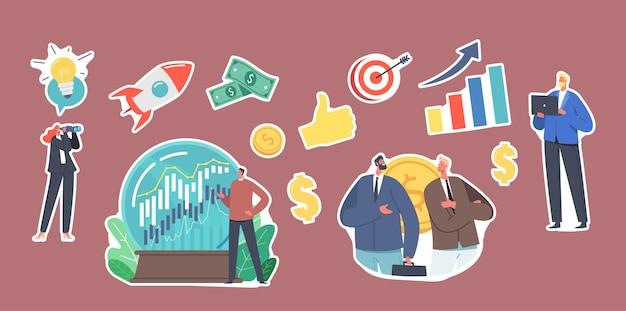 Ensemble d'autocollants business prediction, prévision du thème des tendances du marché. personnages commerciaux, globe de cristal avec graphique boursier en croissance, économie, avantage financier. illustration vectorielle de gens de dessin animé