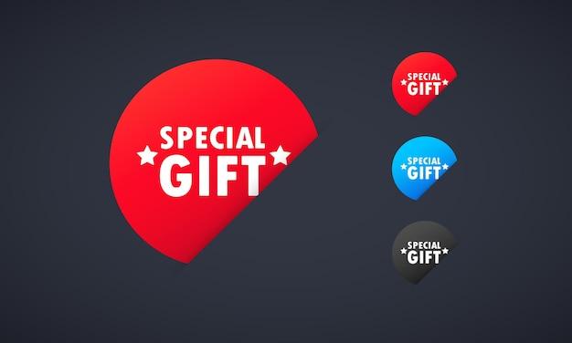 Ensemble d'autocollants cadeau spécial. pour la conception graphique et web. vecteur sur fond blanc isolé. eps 10