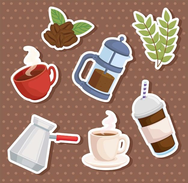 Ensemble d'autocollants de café