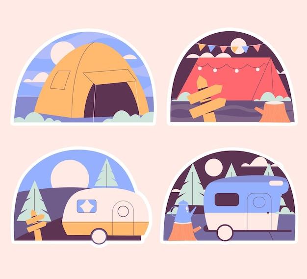 Ensemble d'autocollants de camping naïf