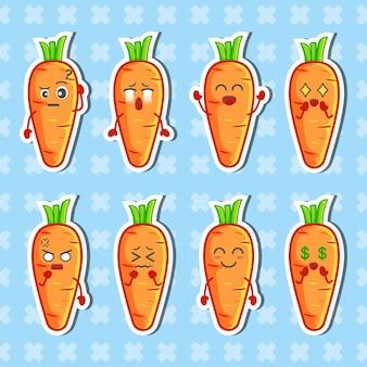 Ensemble d'autocollants de caractère de carotte. collection d'illustrations plates vecteur premium