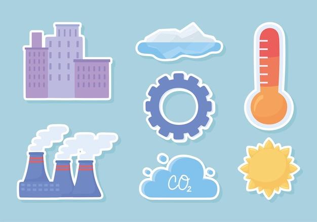 Ensemble d'autocollants de changement climatique