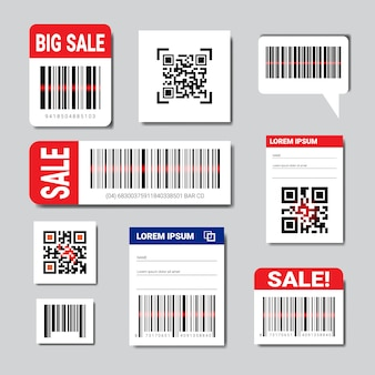 Ensemble d'autocollants codes barre et qr avec texte de vente et espace de copie numérisation collection d'icônes