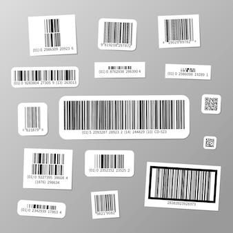 Ensemble d'autocollants de codes à barres différents réalistes