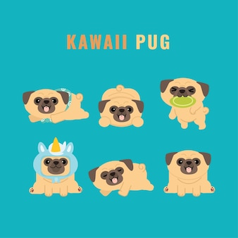 Ensemble d'autocollants de collection de personnages kawaii cute pug
