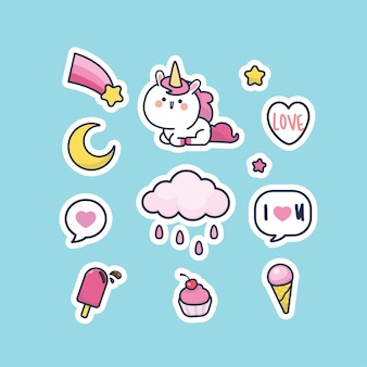 Ensemble D'autocollants De Collection De Personnages De Licorne De Style Mignon Kawaii Vecteur Premium