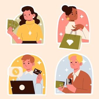 Ensemble d'autocollants de concept de richesse