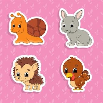 Ensemble d'autocollants de couleurs vives pour les enfants. personnages de dessins animés mignons.