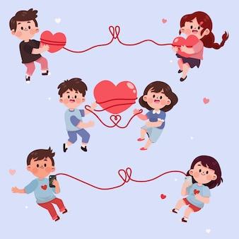 Ensemble d'autocollants de couples mignons dessinés à la main
