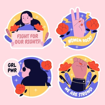 Ensemble d'autocollants creative girl power