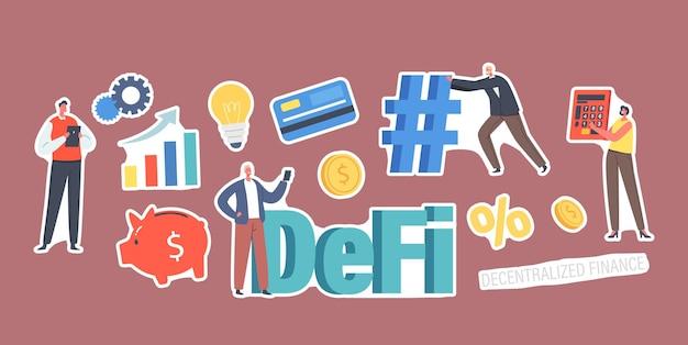 Ensemble d'autocollants defi, thème de la finance décentralisée. cultivez le graphique de données, l'ampoule, la tirelire et le pourcentage, l'homme d'affaires minuscule avec le hashtag énorme, les caractères, la carte en plastique. illustration vectorielle de gens de dessin animé