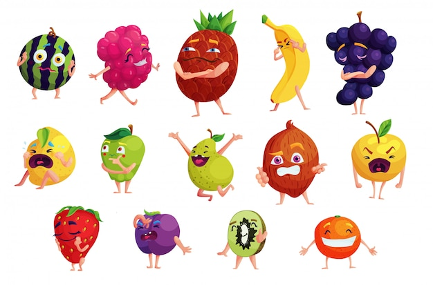 Ensemble d'autocollants de dessin animé de fruits kawaii. collection de plantes emoji drôles. plantes émotionnelles faisant des visages isolés illustrations vectorielles. patchs nutritionnels végétariens. alimentation et mode de vie sains