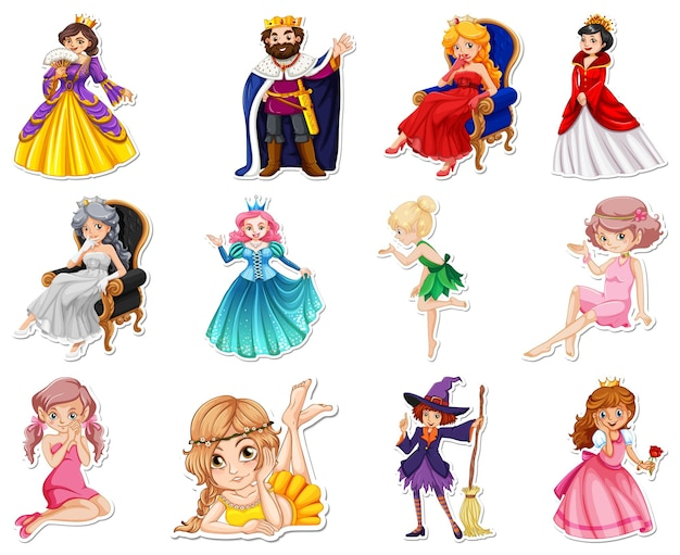Ensemble d'autocollants avec différents personnages de dessins animés de contes de fées