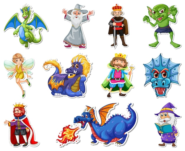 Ensemble d'autocollants avec différents personnages de dessins animés fantastiques