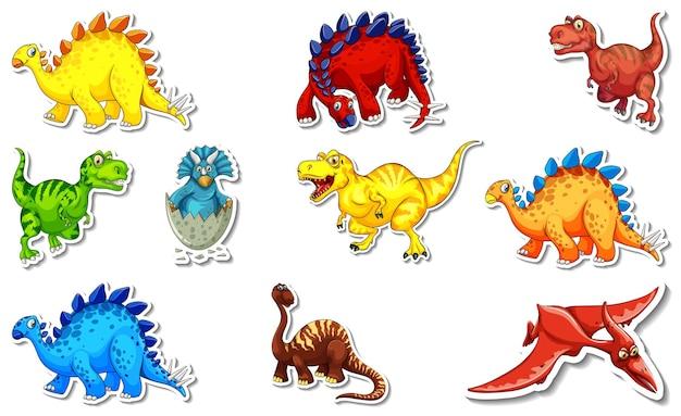 Ensemble d'autocollants avec différents types de personnages de dessins animés de dinosaures