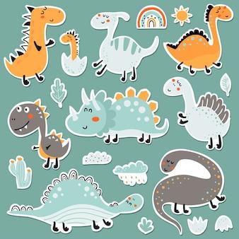 Ensemble d'autocollants avec des dinosaures, des nuages et des plantes
