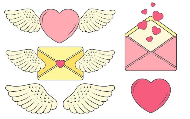 Ensemble d'autocollants drôles avec coeur et ailes. histoire d'amour pour le jour des mariages ou la saint valentin