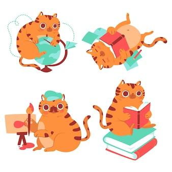 Ensemble d'autocollants d'éducation bernie cat dessinés à la main