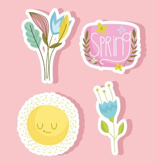Ensemble d'autocollants éléments de printemps