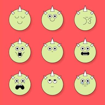 Ensemble d'autocollants emoji monstre à cornes funky