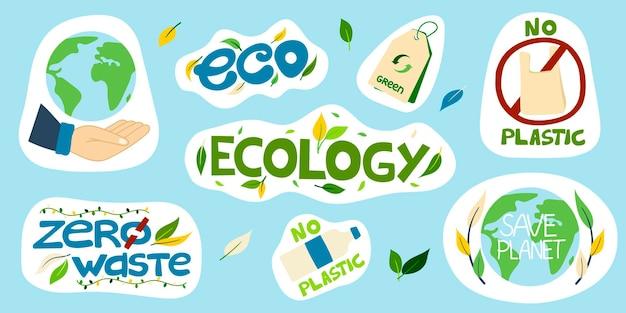 Ensemble d'autocollants environnementaux vectoriels avec des inscriptions sans plastique sauvez la planète écologie eco