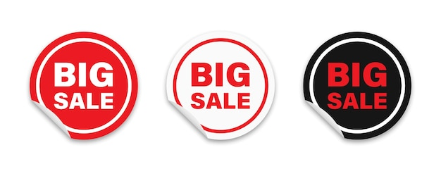 Ensemble d'autocollants d'étiquettes rouges adhésives rondes avec texte de grande vente