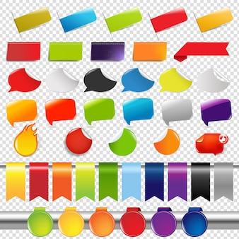 Ensemble d'autocollants et d'étiquettes de vente de couleur, isolé sur transparent