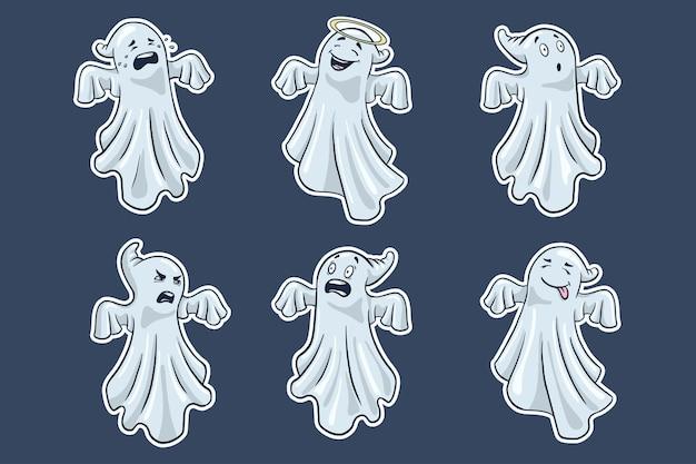 Ensemble d'autocollants de fantômes. style de bande dessinée. collection de fantômes mignons d'halloween dessinés à la main. vecteur premium