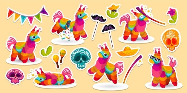 Ensemble d'autocollants de fête mexicaine