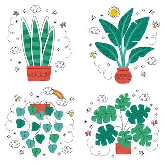 Ensemble d'autocollants de fleurs et de plantes dessinés à la main doodle