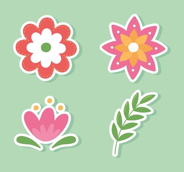 Ensemble d'autocollants de fleurs