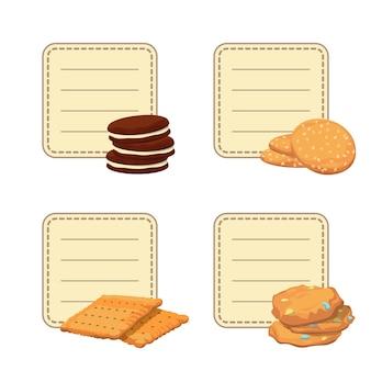 Ensemble d'autocollants avec fond avec illustration de cookies de dessin animé