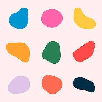 Ensemble d'autocollants de formes abstraites colorées