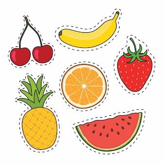 Ensemble d'autocollants de fruits dessinés à la main
