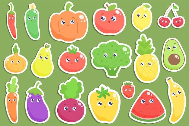Ensemble d'autocollants de fruits et légumes de dessin animé mignon.