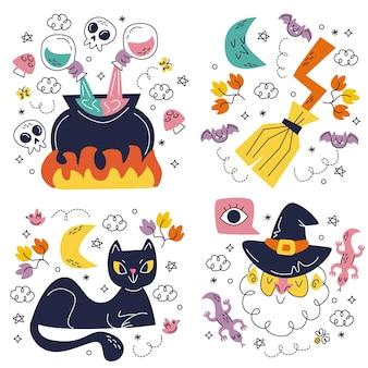 Ensemble d'autocollants halloween dessinés à la main doodle