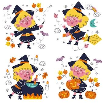 Ensemble d'autocollants halloween dessinés à la main